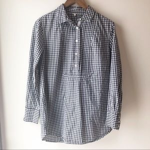 J. Crew Tops - J Crew Black Gingham Tunic with Pleated Placket